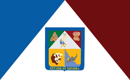 sonora: Sonora vector flag, Mexico State. Sonora coat of arms. Illustration