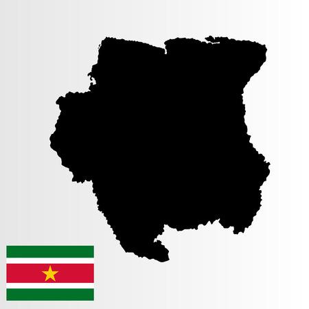 Mapa del vector de Suriname y bandera del vector de Surinam, alta ilustración detallada aislada en el fondo blanco. Vectores