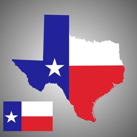 Texas vector map silhouette and Texas vector flag high detailed illustration isolated on background. State of United states of America. Ilustração