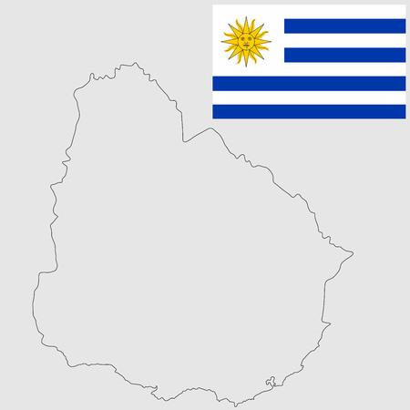 Mapa de contorno vectorial detallado alto - Uruguay, aislado sobre fondo blanco. Vector aislado original y simple de la bandera de Uruguay en colores oficiales y proporción correcta