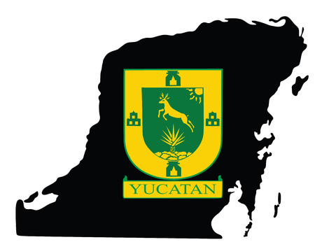 peninsula: Yucatan Peninsula, Mexico, vector map isolated on white background. High detailed silhouette illustration. Yucatan coat of arms vector. Illustration