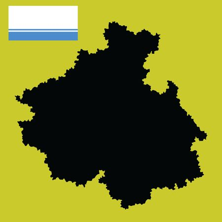 Altai Republic vector map silhouette and flag isolated on background. High detailed  illustration. Russia oblast Altay map illustration. Gorny Altai map.