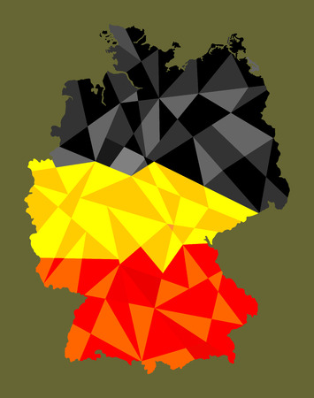 Map and flag of Germany, vector abstract.