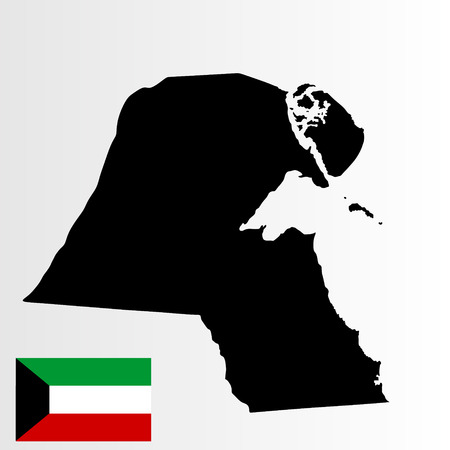 Kuwait vector map high detailed silhouette illustration isolated on white background. Kuwait flag.