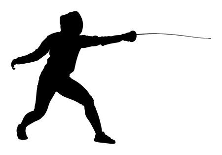 Escrime joueur portrait vector illustration silhouette isolé sur fond blanc. Événement de compétition d'escrime. Combat à l'épée. Swordplay formation ombre noire. Jeu de mouvement rapide. Athlète homme art figure Vecteurs
