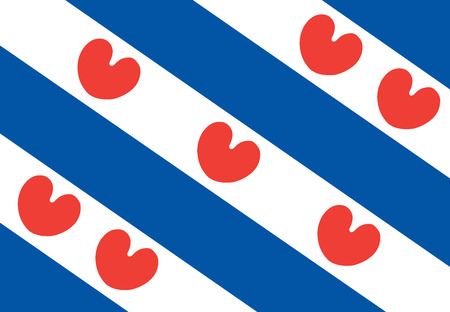 the hague: Vector flag of Friesland or Frisia is a province in the northwest of the Netherlands. Illustration