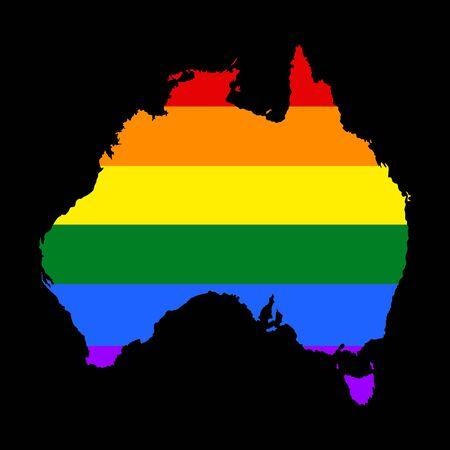 Australia pride map with rainbow flag colors, vector. flag over map of Australia. Rainbow flag.  イラスト・ベクター素材