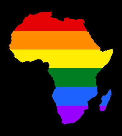 Africa pride gay map vector with rainbow flag colors. Gay flag over Africa map isolated on black background. Rainbow flag.