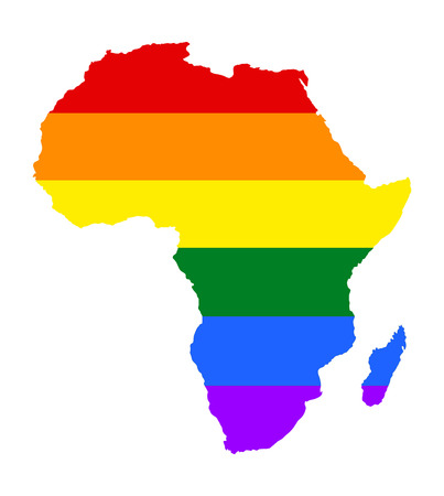 Africa pride gay map with rainbow flag colors. Gay flag over Africa map. Rainbow flag.