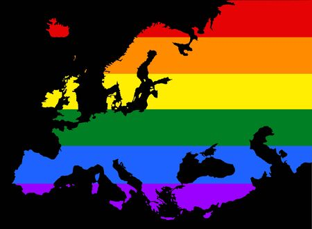 Europe pride  vector map with rainbow flag colors.