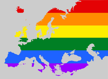 Europe pride gay vector map with rainbow flag colors. Gay flag over Europe union map. Rainbow flag. Illustration