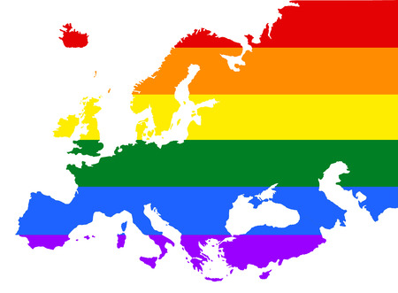 fetishes: Europe pride gay map with rainbow flag colors. Gay flag over Europe union map. Rainbow flag.