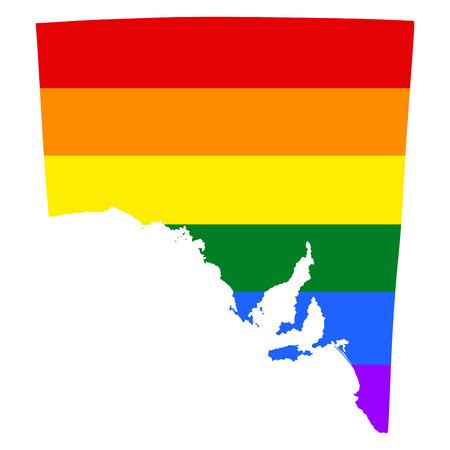 South Australia pride gay map with rainbow flag colors. Gay flag over South Australia map. Rainbow flag.
