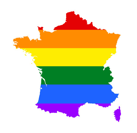 fetishes: France pride gay map with rainbow flag colors. Gay flag over France map. Rainbow flag. Illustration