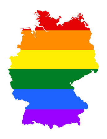 Germany pride gay map with rainbow flag colors. Gay flag over Germany map. Rainbow flag.