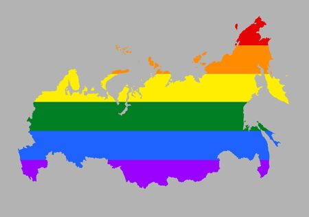 Russia pride map silhouette with rainbow flag colors. Europe country. EU state. 일러스트