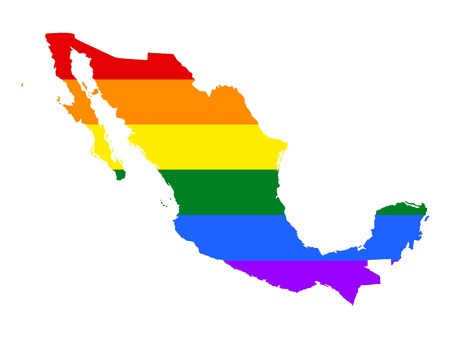fetishes: Mexico pride gay map with rainbow flag colors. Gay flag over Mexico map, America. Rainbow flag.