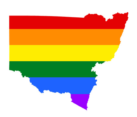 fetishes: New South Wales pride gay map with rainbow flag colors. Gay flag over New South Wales map, Australia. Rainbow flag.