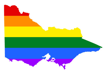 Victoria pride gay map with rainbow flag colors. Gay flag over Victoria map, Australia. Rainbow flag. Illustration
