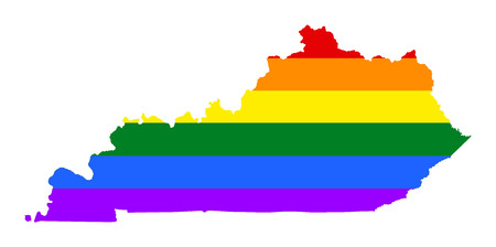 Kentucky pride gay map with rainbow flag colors, vector. United States of America. Gay flag over map of Kentucky state. Rainbow flag.