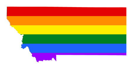 Montana pride gay map with rainbow flag colors, vector. United States of America. Gay flag over map of Montana state. Rainbow flag.