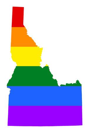 アイダホ プライド ゲイ地図ベクトル虹の旗の色で。アメリカ合衆国。アイダホ州の地図上のゲイのフラグです。虹色の旗。 写真素材 - 78711114
