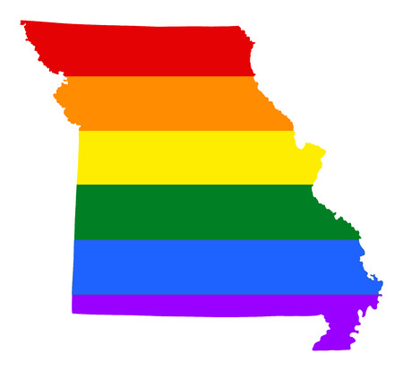 Missouri pride gay map with rainbow flag colors. United States of America. Gay flag over map of Missouri state. Rainbow flag.