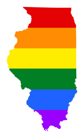 Illinois pride gay map with rainbow flag colors. United States of America. Gay flag over map of Illinois state. Rainbow flag.