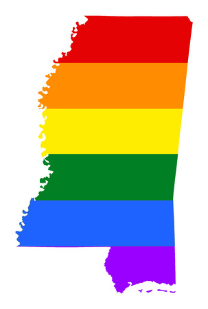 Mississippi pride gay map with rainbow flag colors. United States of America. Gay flag over map of Mississippi state. Rainbow flag.