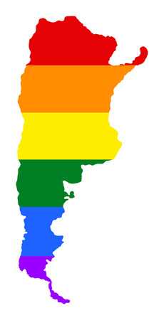 Argentina pride gay map with rainbow flag colors. South America. Gay flag over Argentina map. Rainbow flag. Illustration