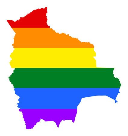 Mapa gay del orgullo de Bolivia con colores de la bandera del arco iris. Sudamerica. Bandera gay sobre el mapa de Bolivia. Bandera del arco iris