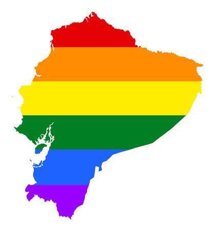 fetishes: Ecuador pride gay map with rainbow flag colors. South America. Gay flag over Ecuador map. Rainbow flag. Illustration