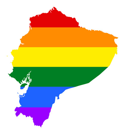 Ecuador pride gay map with rainbow flag colors. South America. Gay flag over Ecuador map. Rainbow flag. Illustration
