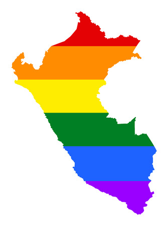 fetishes: Peru pride gay map with rainbow flag colors. South America. Gay flag over Peru map. Rainbow flag.