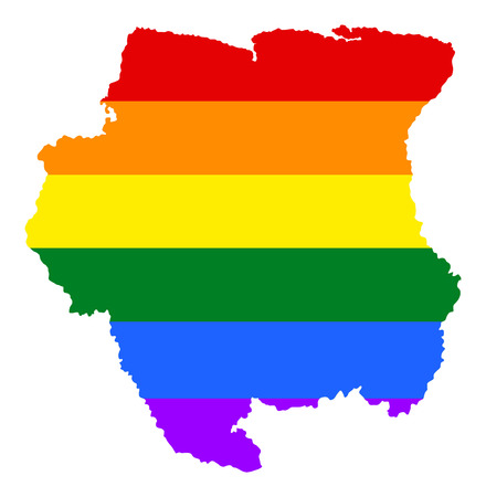 Suriname pride gay map with rainbow flag colors. South America. Gay flag over Suriname map. Rainbow flag.