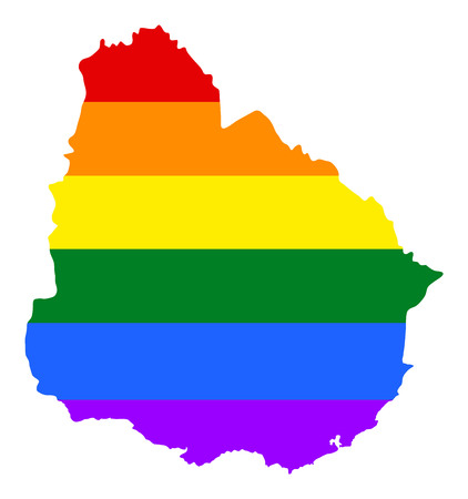 Uruguay pride gay map with rainbow flag colors. South America. Gay flag over Uruguay map. Rainbow flag.
