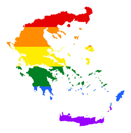 fetishes: Greek pride gay map with rainbow flag colors. Europe country. EU state.