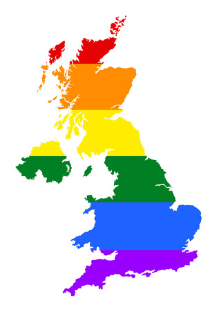 fetishes: United Kingdom pride gay map with rainbow flag colors. Europe country. EU state. Illustration