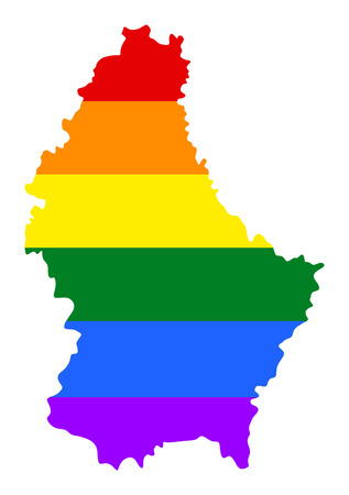 Luxembourg pride gay map with rainbow flag colors. Europe country. EU state. Illustration