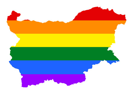 Bulgaria pride gay map with rainbow flag colors. Europe country. EU state.