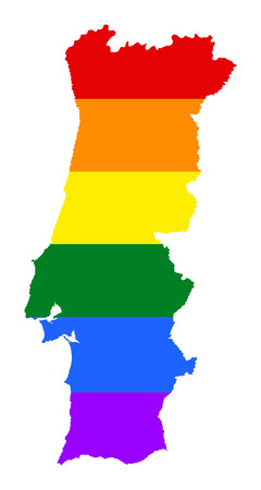 Portugal pride gay map with rainbow flag colors. Europe country. EU state.