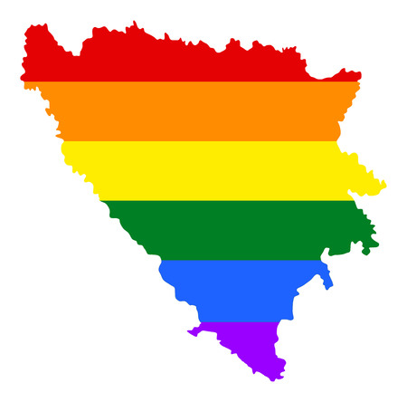 fetishes: Bosnia and Herzegovina pride gay map with rainbow flag colors. Europe country. EU state.