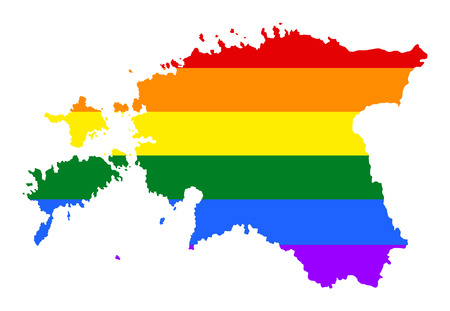 Estonia pride gay map with rainbow flag colors. Europe country. EU state.