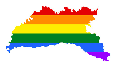 Moldova pride gay map with rainbow flag colors. Europe country. EU state.