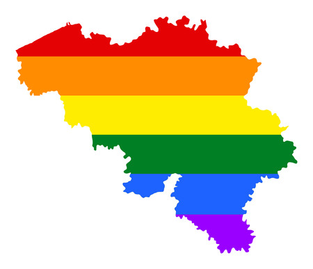 Belgium pride gay map with rainbow flag colors. Europe country. EU state. Illustration