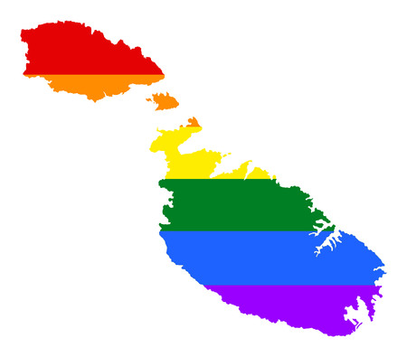 Malta pride gay map with rainbow flag colors. Europe country. EU state.