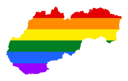 Slovakia pride gay map with rainbow flag colors. Europe country. EU state.