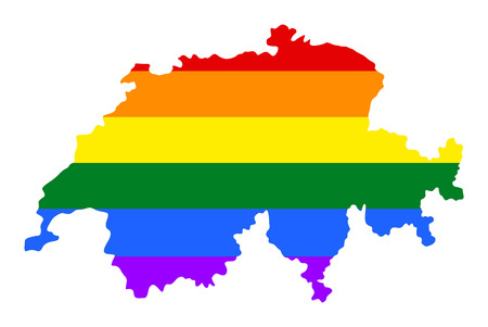 fetishes: Switzerland pride gay map with rainbow flag colors. Europe country. EU state.
