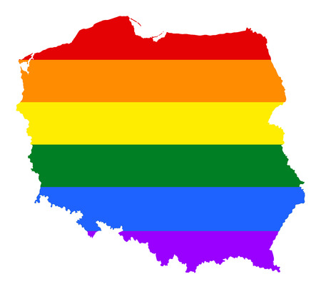 Poland pride gay map with rainbow flag colors. Europe country. EU state.