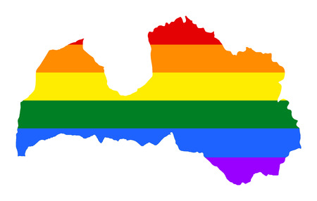 Latvia pride gay map with rainbow flag colors. Europe country. EU state.